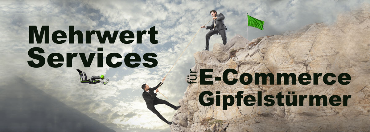 Männer im Anzug besteigen Gipfel - E-Commerce Gipfelstürmer